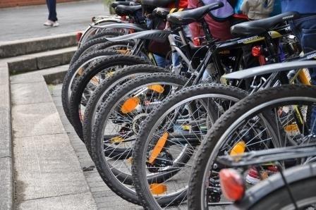 Hinterreifen von Fahrrädern in einer Reihe