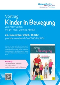 "Plakat des Vortrages ""Kinder in Bewegung"""