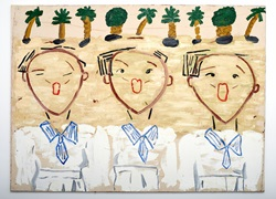 Rose Wylie Korean Children Singing 2013, Öl auf Leinwand, 182 x 250 cm © Rose Wylie, Choi & Lager Gallery, Köln